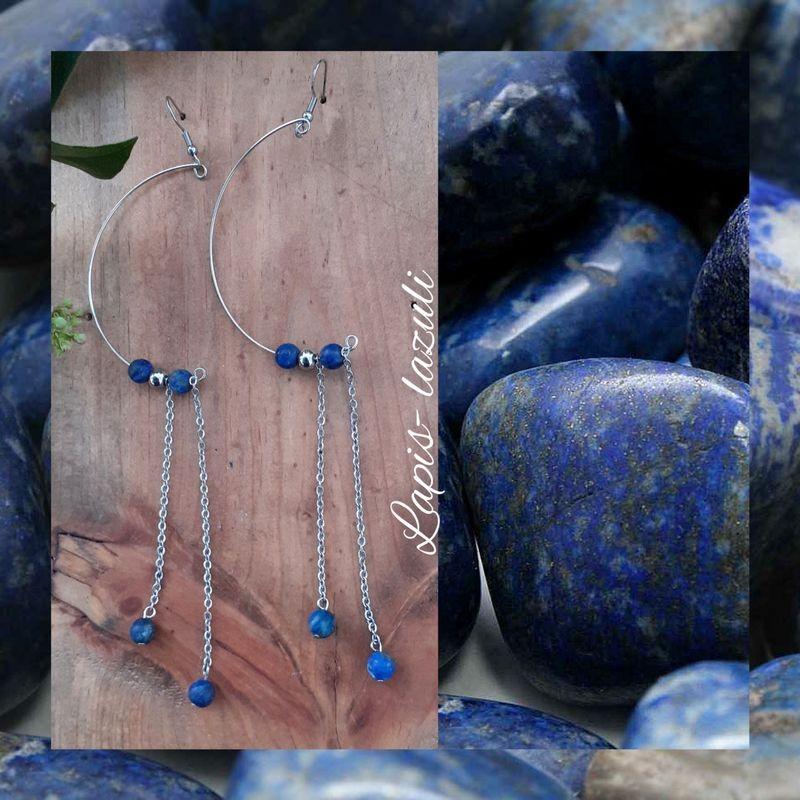Boucles d'oreilles Lapis-lazuli Demi-Lune