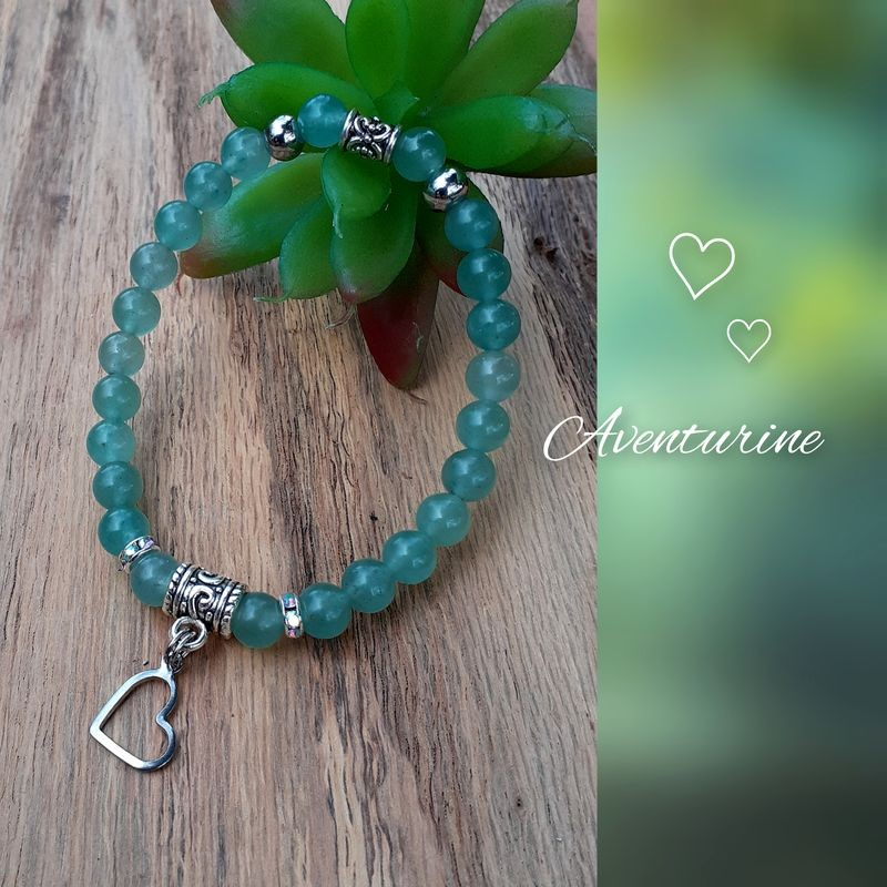 Bracelet aventurine Coeur