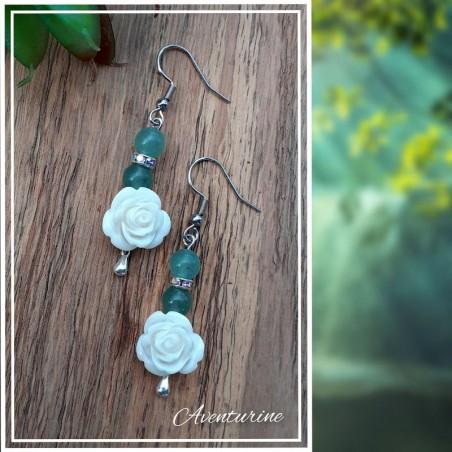 Boucles d'oreilles Aventurine, Rose blanche