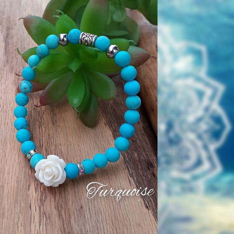 Bracelet Turquoise, Rose blanche