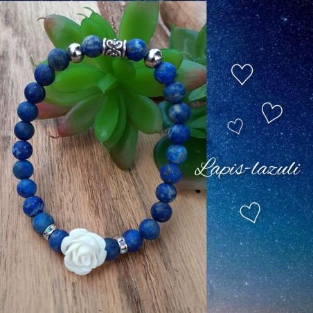 Bracelet Lapis-Lazuli, Rose blanche