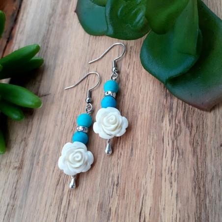 Boucles d'oreilles Turquoise, Rose blanche