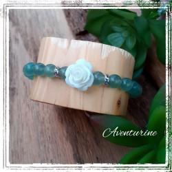 Bracelet aventurine, Rose blanche