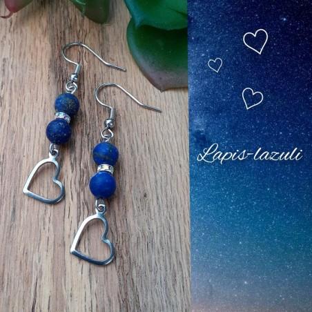 Boucles d'oreilles Lapis-Lazuli, Coeur