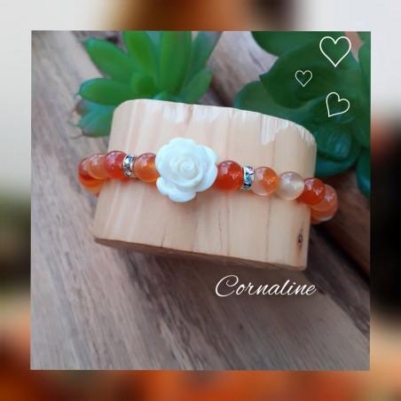 Bracelet Cornaline, Rose blanche