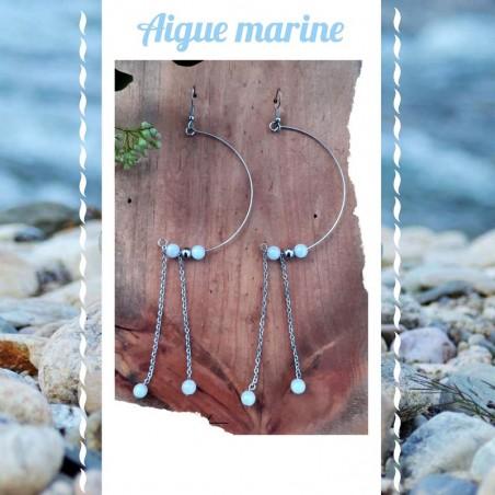 Boucles d'oreilles Aigue-Marine Demi-Lune