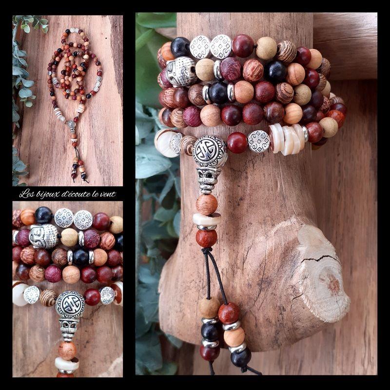 Mâlâ en Bois exotiques 108 perles