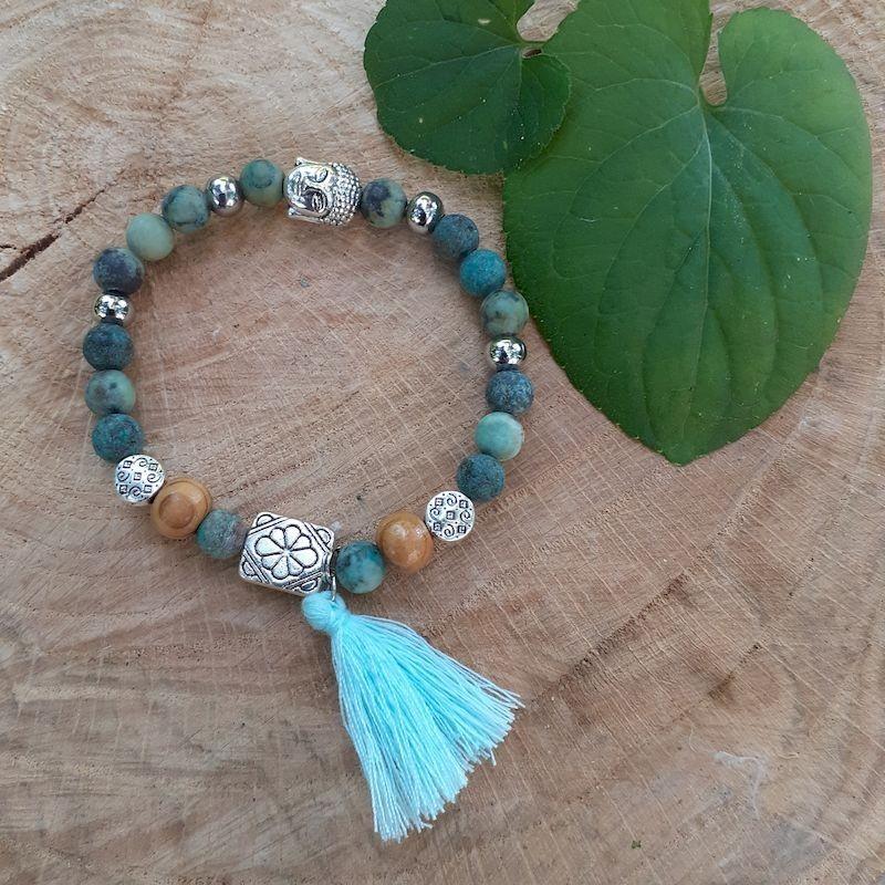 Bracelet turquoise Africaine et pompon