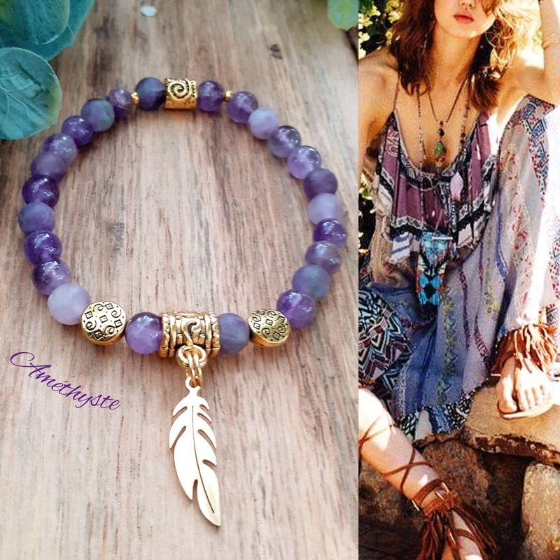 Bracelet Améthyste plume