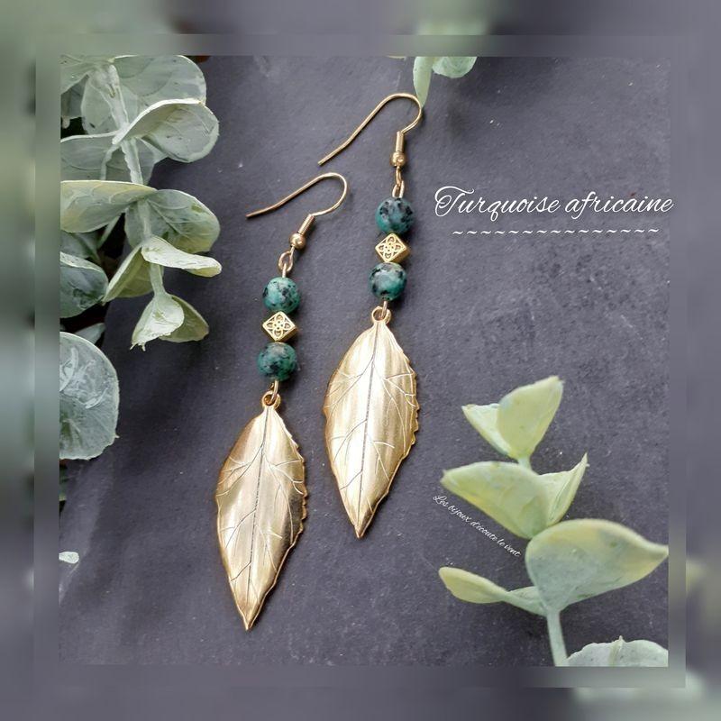 Boucles d'oreilles Turquoise Africaine Plume dorée