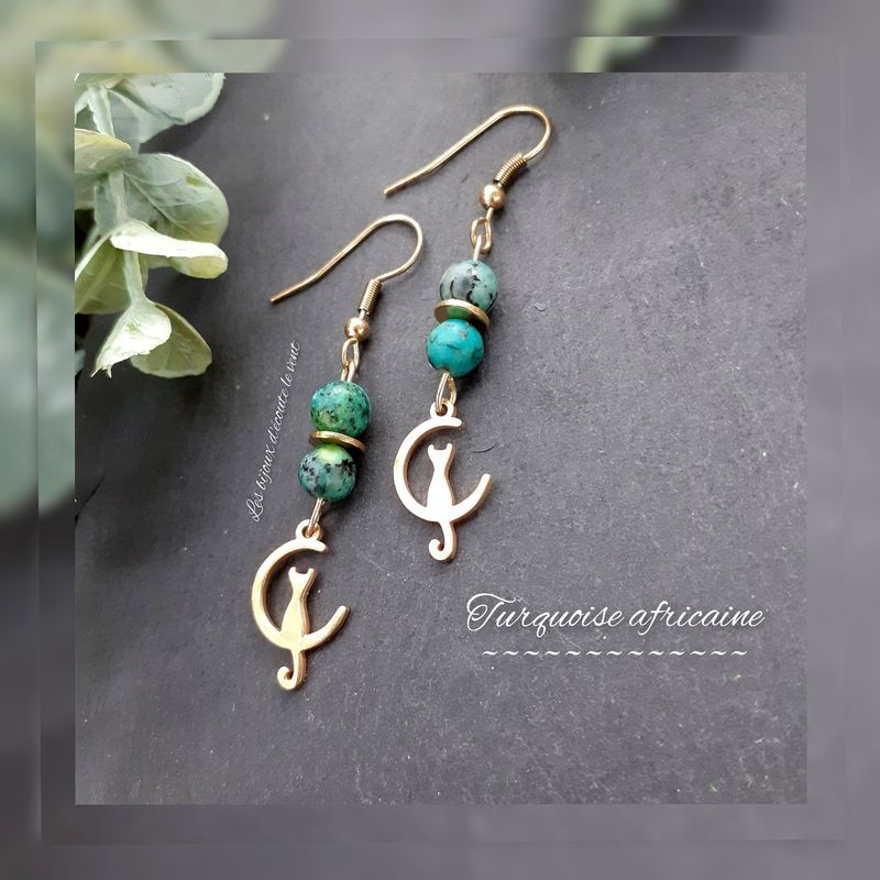 Boucles d'oreilles Turquoise Africaine Chat