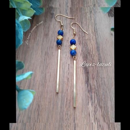 Boucles d'oreilles Lapis-Lazuli Barres longues