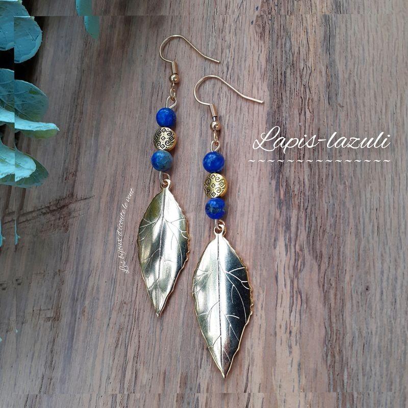 Boucles d'oreilles Lapis-Lazuli Plume dorée