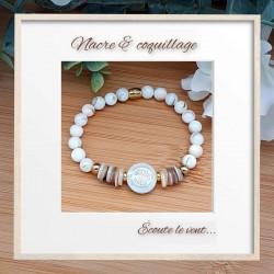 Bracelet nacre et médaillon nacre arbre de vie