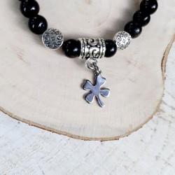 Bracelet obsidienne trèfle à 4 feuilles