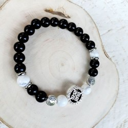Bracelet obsidienne et howlite