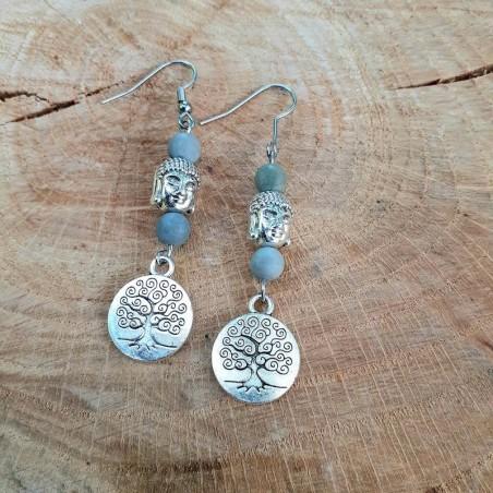 Boucles d'oreilles Jaspe Picasso médaillon arbre de vie