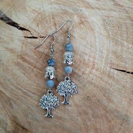 Boucles d'oreilles Jaspe Picasso arbre de vie