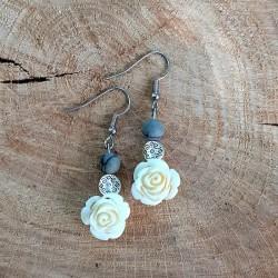 Boucles d'oreilles Jaspe Picasso Rose blanche