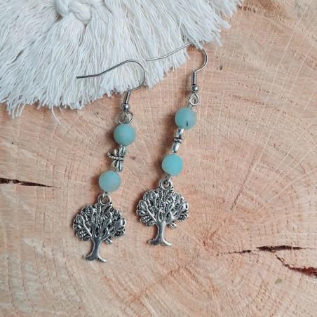 Boucles d'oreilles amazonite arbre de vie