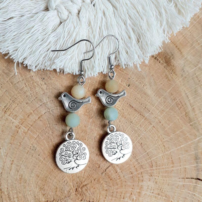 Boucles d'oreilles amazonite médaillon arbre de vie