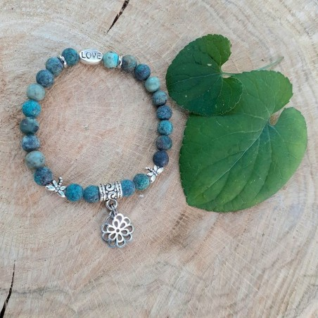 Bracelet turquoise Afriquaine breloque fleur de vie