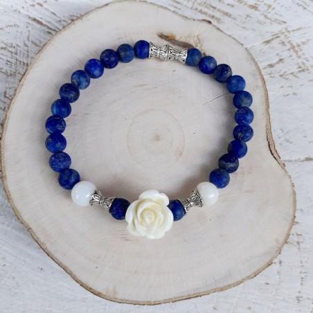 Bracelet lapis lazuli rose blanche