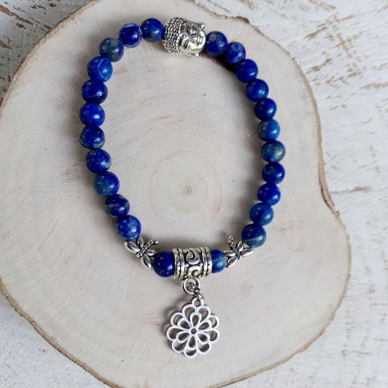 Bracelet lapis lazuli fleur de vie