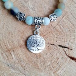 Bracelet amazonite médaillon arbre de vie