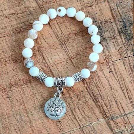 Bracelet nacre médaillon arbre de vie