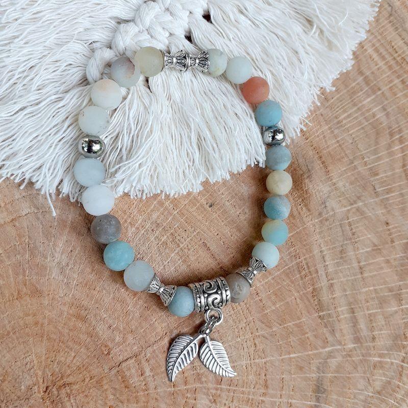 Bracelet amazonite plumes