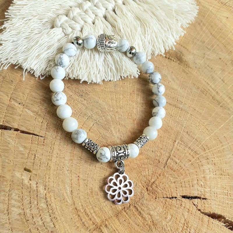 Bracelet howlite fleur de vie