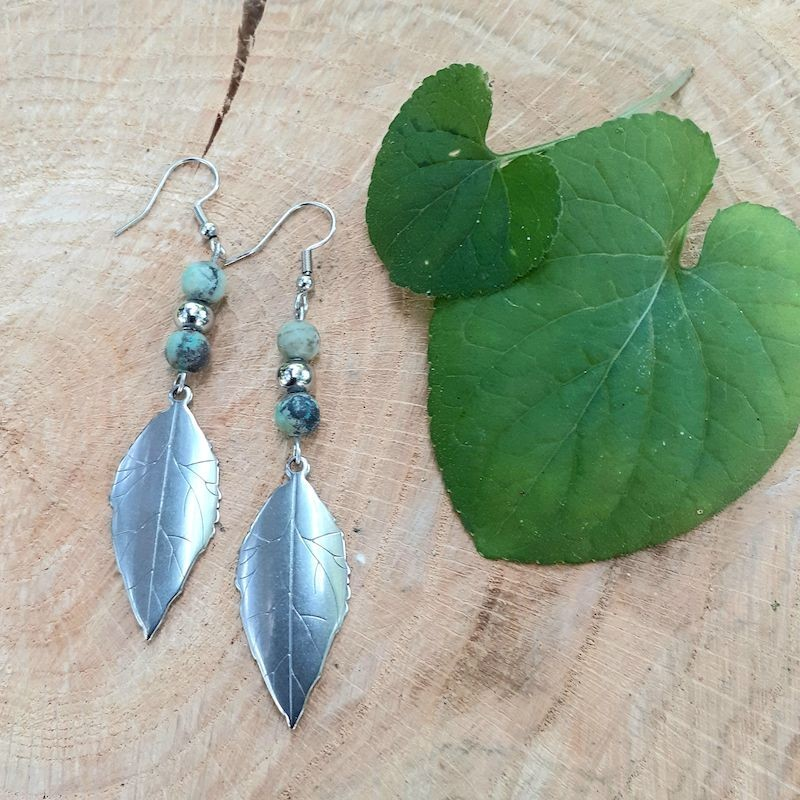 Boucles d'oreilles turquoise africaine feuille