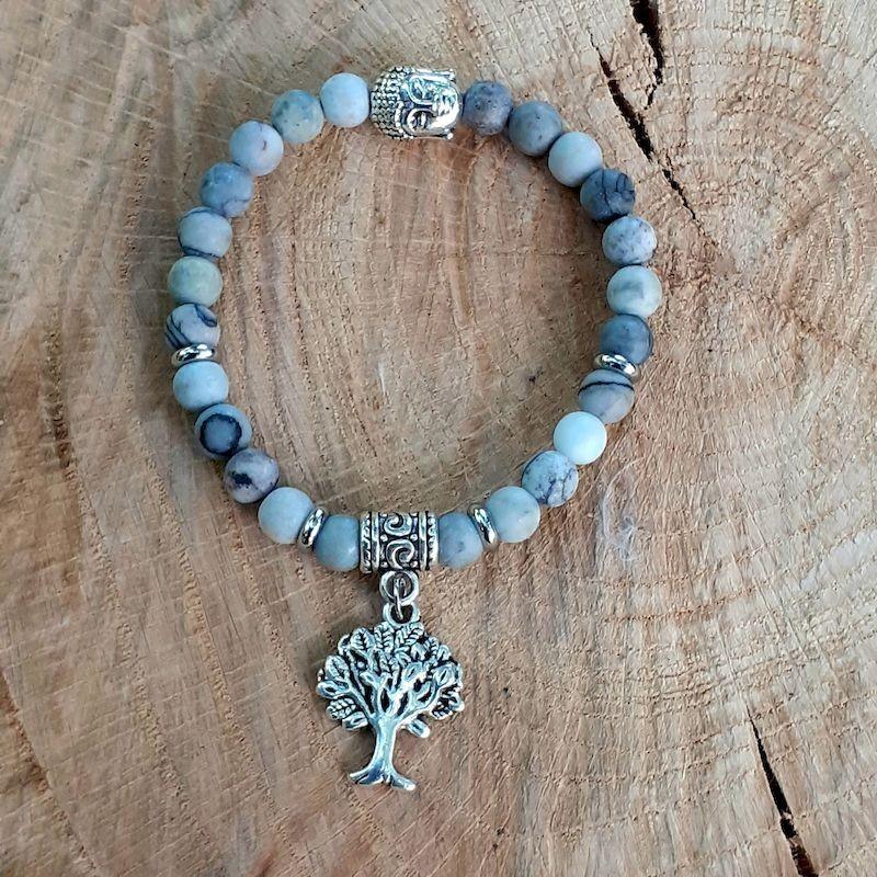 Bracelet jaspe Picasso arbre de vie