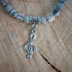 Bracelet jaspe Picasso clé de Sol
