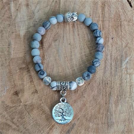 Bracelet jaspe Picasso médaillon arbre de vie