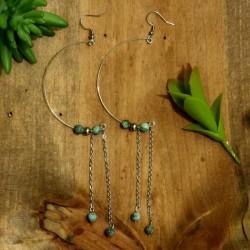 Boucles d'oreilles turquoise africaine demi lune