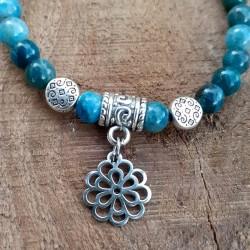 Bracelet apatite médaillon fleur de vie