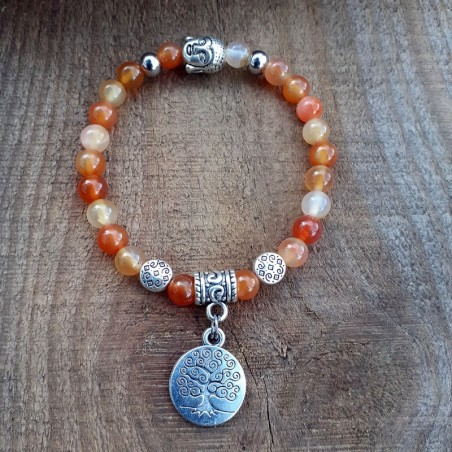 Bracelet cornaline médaillon arbre de vie