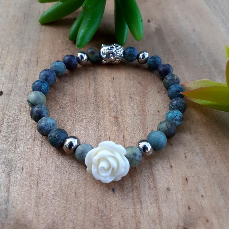 Bracelet turquoise Africaine rose blanche