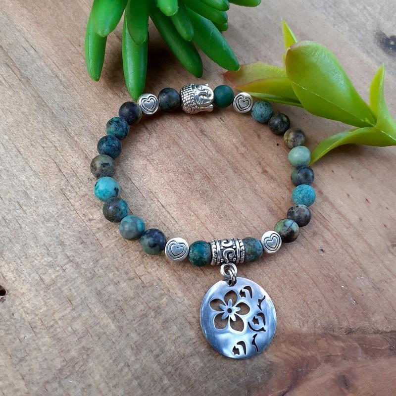 Bracelet turquoise Africaine médaillon fleur