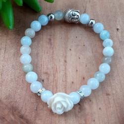 Bracelet aigue-marine rose blanche