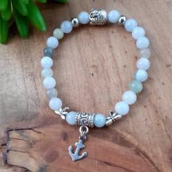 Bracelet aigue-marine ancre