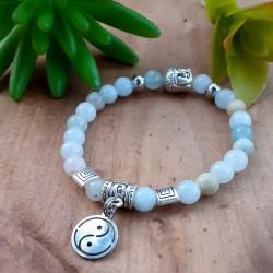 Bracelet aigue-marine Yin & Yang