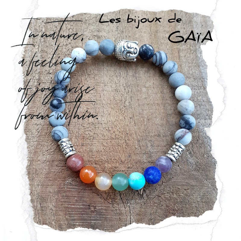 Bracelet 7 chakras jaspe Picasso