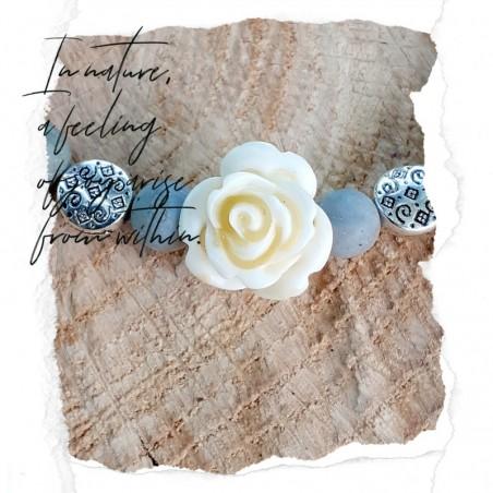 Bracelet jaspe Picasso rose blanche