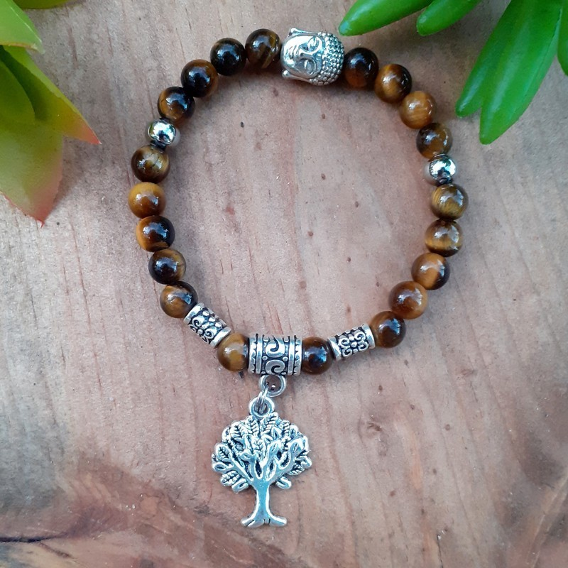 Bracelet oeil de tigre arbre de vie