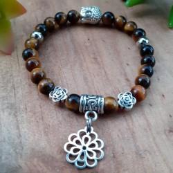 Bracelet oeil de tigre fleur de vie