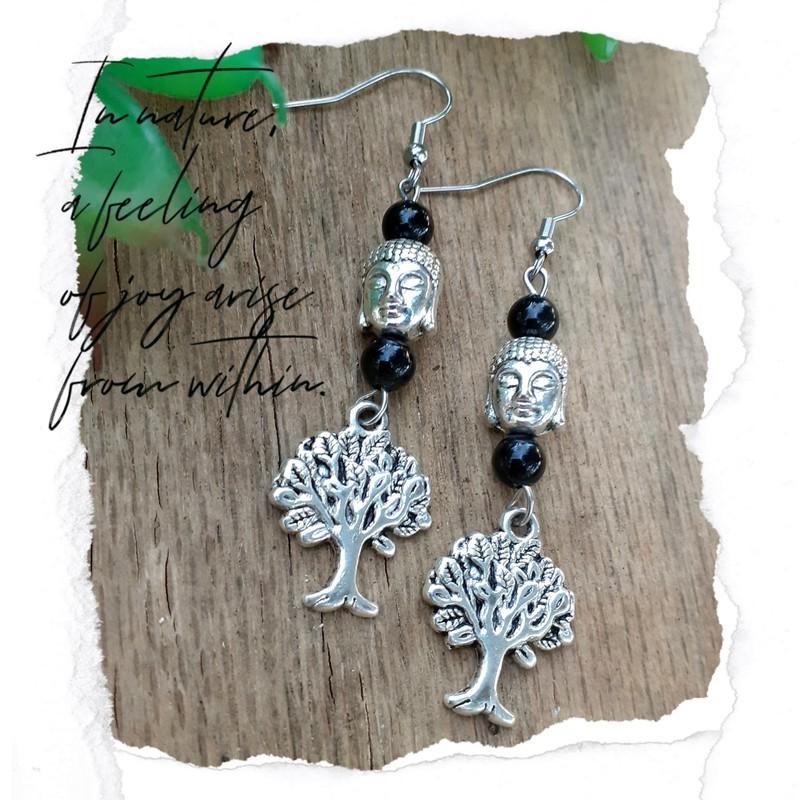 Boucles d'oreilles Obsidienne arbre de vie