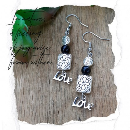 Boucles d'oreilles Obsidienne Love
